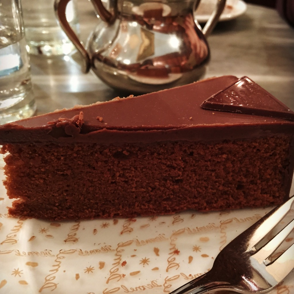Demel's famous Sachertorte. We chose to dine at Demel as it was a cozier setting and less touristy compared to Hotel Sacher. Also you get to see the pastry chefs at work behind the kitchen glass.