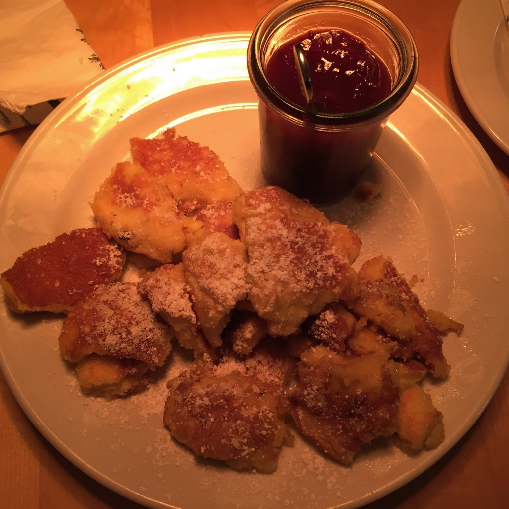 Kaiserschmarrn dessert is a traditional royal dessert for Emperor Franz Josef. It is basically shredded fluffy raisins pancakes served with delicious prune compote. Absolutely delicious!